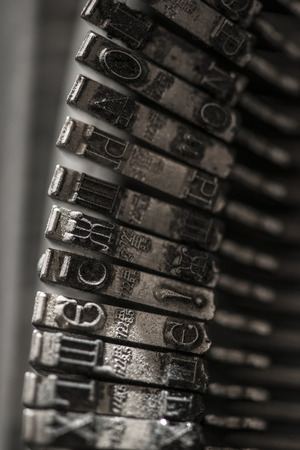 typewriter key: Metal letters on typewriter. Close up macro