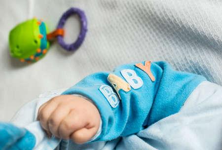 adn: el texto beb� mano del ADN del beb�.
