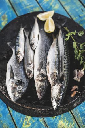 Poisson cru. Dorade, loup de mer, le maquereau et les sardines. fond en bois bleu Banque d'images