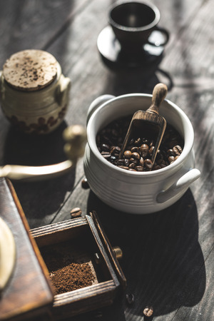 Vintage coffee grinder and beans