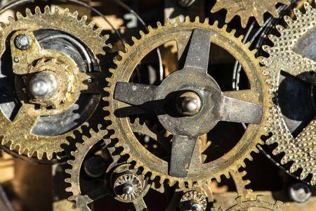 Close up metal gears mechanism.