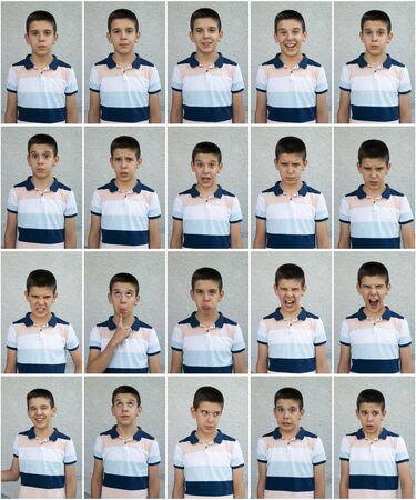 子供の顔。感情や表情を見せる顔が多い。ティーンエイジャーは表情に直面しています。
