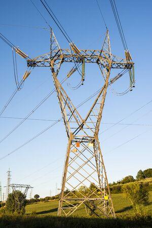 High voltage transmission lines. Transmission of electricity.