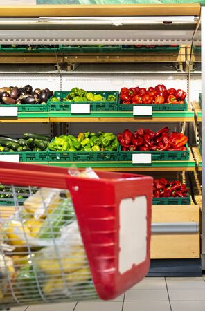 Shopping cart in supermarket in front of shelf with vegetables. Shopping concept.
