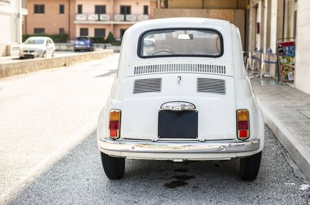 Small italian vintage car. White car. Reklamní fotografie