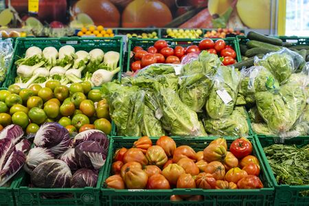 Vegetables in crates in supermarket. Arranged tomatoes, lettuce, fennel and radicchio. Zdjęcie Seryjne