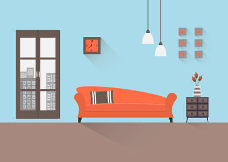 living room furniture: Interior of a living room. Modern flat design illustration.