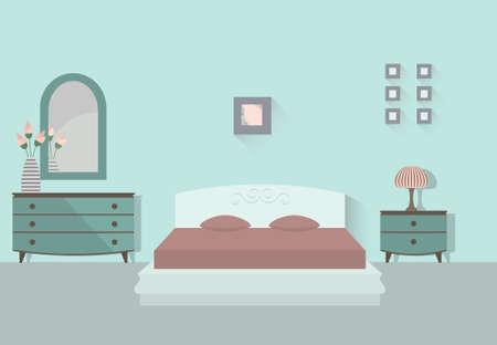 Bedroom interior with long shadows. Flat design illustration.