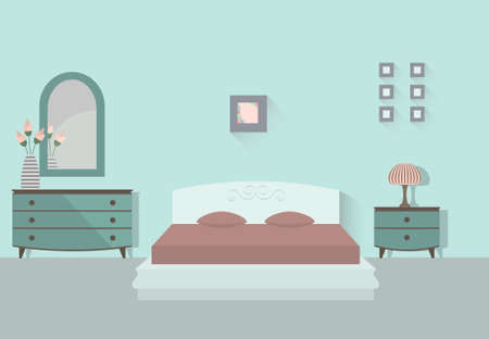 Bedroom interior with long shadows. Flat design illustration.