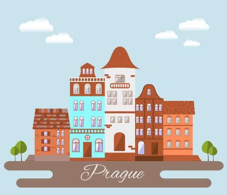 czech: Prague  cityscape. Flat design illustration. Illustration