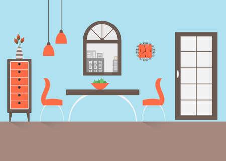 modern interior design: Interior of a dining room. Modern flat design illustration.