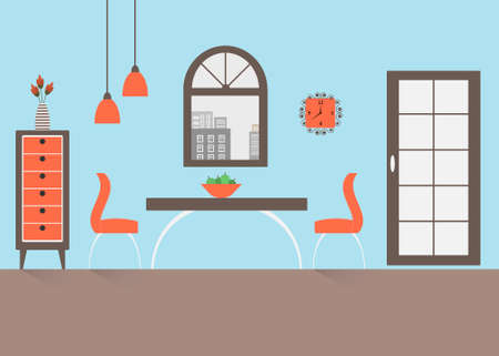 Interior of a dining room. Modern flat design illustration.