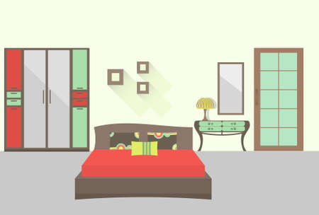 domestic room: Bedroom interior with long shadows. Flat design illustration.