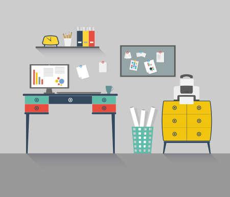 desktops: Flat design vector illustration of house office with long shadows. Illustration