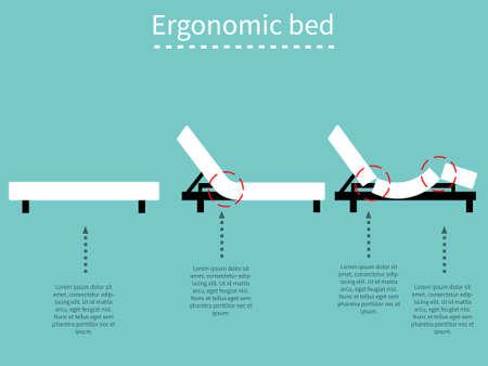 ergonomic: Ergonomic adjustable bed. Flat design.