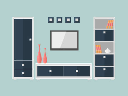 modern interieur: Interior of a living room with furniture box and  TV. Modern flat design illustration. Stock Illustratie