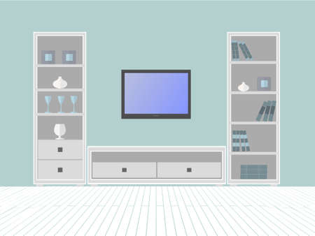 living room tv: Interior of a living room with furniture box and  TV Illustration