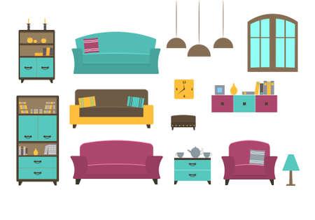 home furniture: Furniture collection for a living room. Modern flat design illustration.