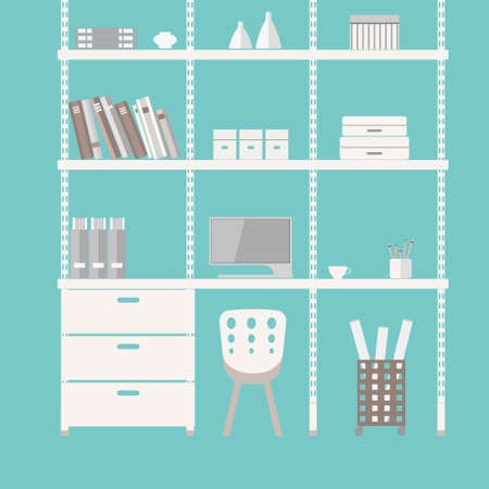 swivel: Home office interior in flat design. Illustration