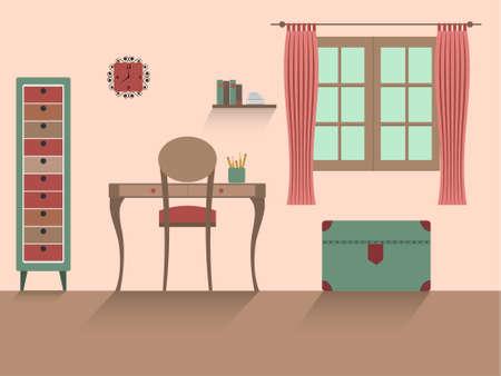 Kids room interior  with long shadows. Flat design illustration.