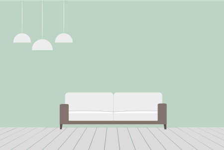 Interior of a living room in minimalist style. Vector illustration.