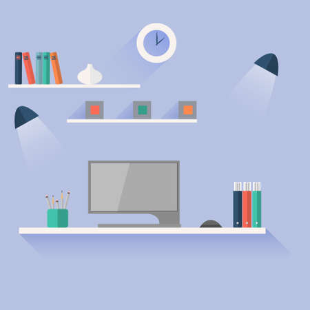 work table: Flat design vector illustration of modern  office workplace Illustration
