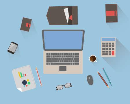 workspace: Flat design vector illustration of modern  office workspace Illustration