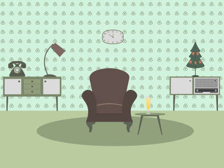living room design: Retro living room interior. Flat design illustration.