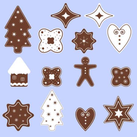 spice cake: Set of Christmas sweets. Decorative element. Flat design illustration.