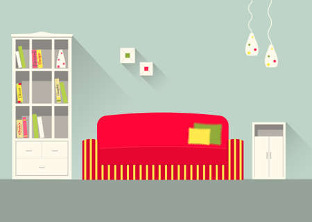 Binnenlands ontwerp van een woonkamer met lange schaduwen. Moderne vlakke stijl illustratie