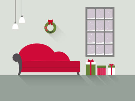 living room window: Interior design of a living room with long shadows. Ð¡hristmas design. Modern flat style illustration.