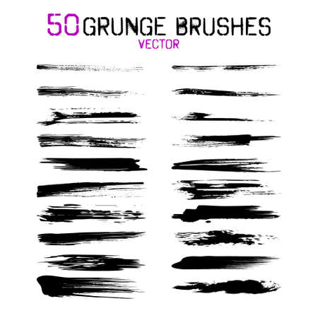 Big collection brush strokes. Brushes with various textures. 50 brushes in the file. Vector illustration.  イラスト・ベクター素材