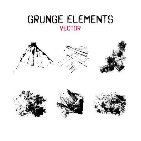 Set grunge ink stains with various texture.  Grunge design element. Vector illustration.