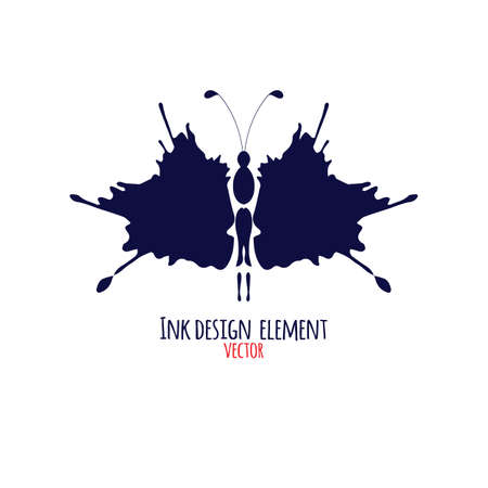 Butterfly made of ink blots. Abstract design element  for print, cloth, tattoo, tee shirt, utensil. Modern illustration.