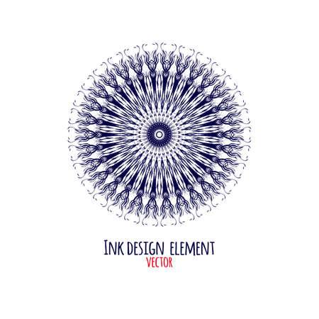 Round ornament. Universal abstract pattern  for print, cloth, tattoo, tee shirt, utensil, medallion. Modern illustration.