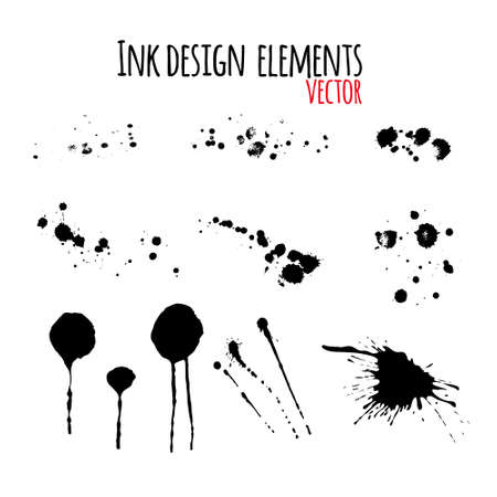 Set of dripping inky swashes, ink splashes, ink blots for your design. Grunge design element.