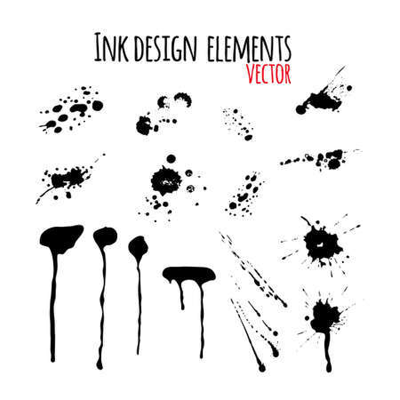 Set of dripping inky swashes, ink splashes, ink blots for your design. Grunge design element.
