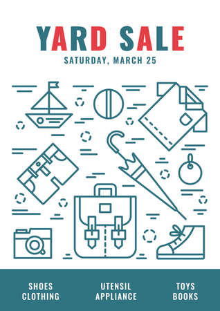 Garage Sale Flyer Template Vector Line Style Illustration Royalty