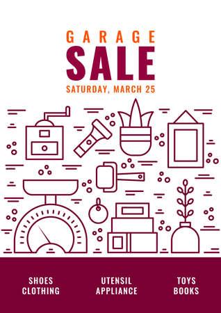 Garage sale flyer template. Vector line style illustration.