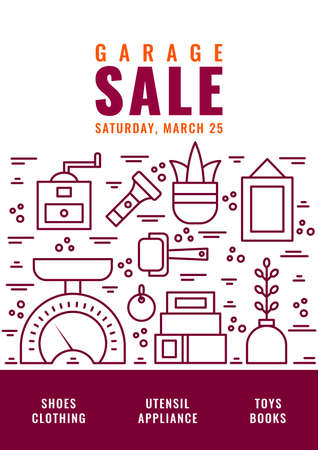 Garage Sale Flyer Template Vector Line Style Illustration