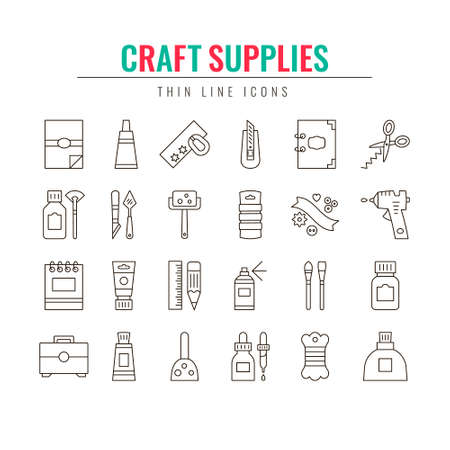 Craft Supplies & Materials. Thin Line Icons Set.  Elements for Websites, Banners, Infographic, Illustrations. Craft show, craft making and sale poster design elements.  Elements for craft studio,  shops, courses and workshops. Vector line style illustrati Illustration