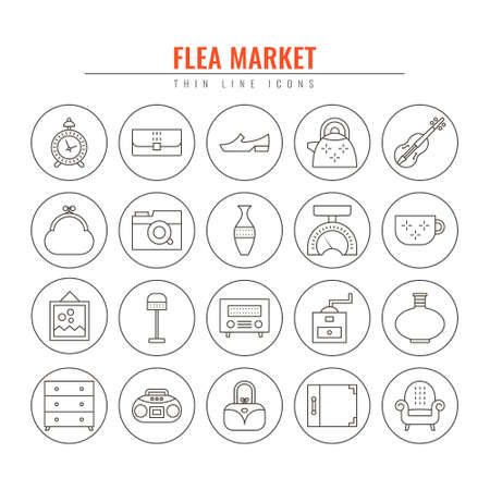 Flea market outline icons. Design elements for Websites, Banners, Posters, Signs. Vector line style illustration.  イラスト・ベクター素材