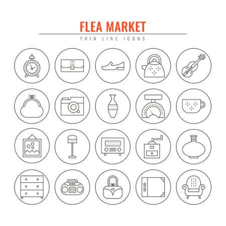 Mercadillo contorno iconos. Elementos de diseño para sitios web, banners, carteles, letreros. Ilustración de estilo de línea de vector.