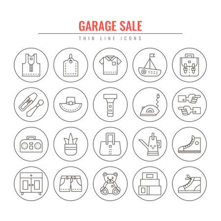 Garage sale and yard sale thin line icons. Design elements for  Websites, Banners, Posters, Signs. Vector line style illustration.