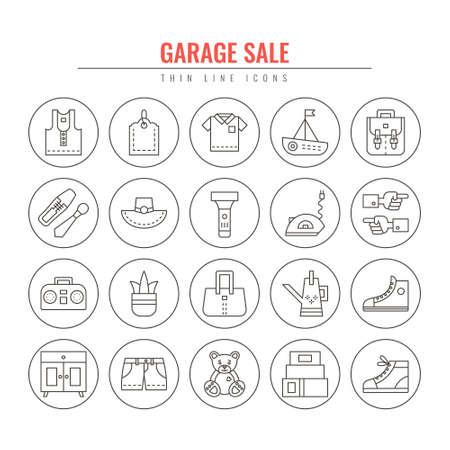 Venta de garaje y yarda de venta de línea fina iconos. Elementos de diseño para sitios web, banners, carteles, carteles. Vector línea de estilo ilustración.