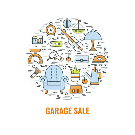 Garage sale sign. Template for poster, banner, flyer. Yard sale flyer template. Vector line style  illustration. Ilustração