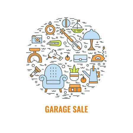 Segno di vendita di garage. Modello per poster, banner, flyer. Modello di volantino vendita Yard. Illustrazione di stile linea vettoriale. Archivio Fotografico - 85986118