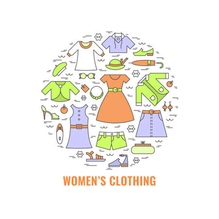 Women's clothing poster. Template for flyer and banner. Poster for big sale, shops, fashion show, sewing studio, advertising. Vector line style illustration.