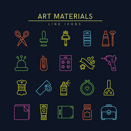 Craft Supplies & Materials. Thin Line Icons Set. 
