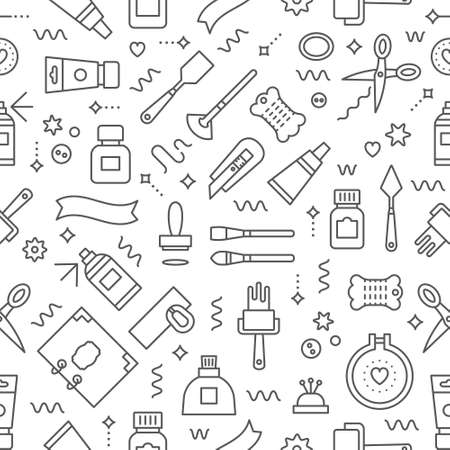 Editable  vector seamless pattern. Craft supplies background.  Backdrop texture for flyer, banner, poster. Background for craft show and sale,  studio, shop, courses, workshops, websites. Vector line style illustration. Illustration